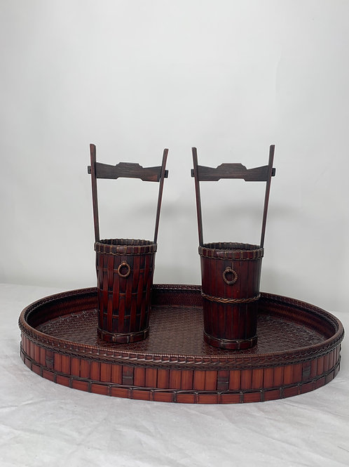 Antique Signed Woven Ikebana Set with Two Vase Style Baskets and Tray