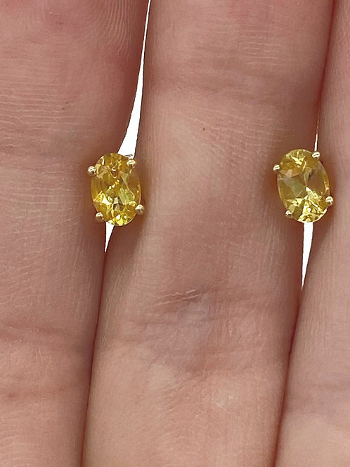 Sterling Silver Gold Plated Yellow Quartz Stud Earrings