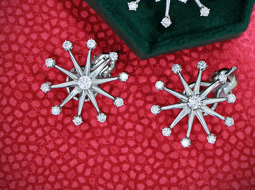 18 K White Gold & Diamond Modern Snowflake Earrings