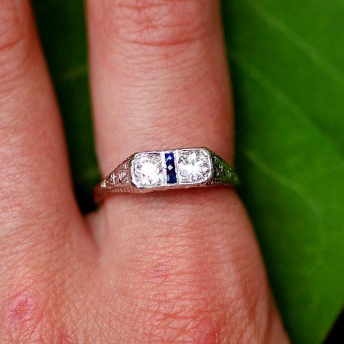 Antique Art Deco Filigree Two Diamond Engagement Ring w/ Sapphires