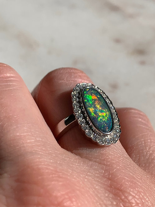 14 K White Gold Opal & Diamond Oval Shaped Ring