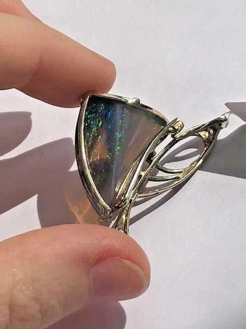 14 K White Gold Pin Unique Shape & Fire Translucent Opal with Diamonds
