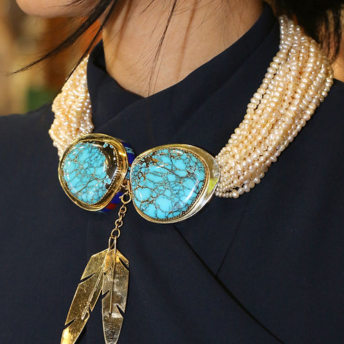 Ray Tracey Pearl & Turquoise Necklace