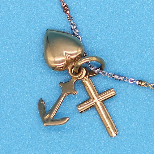 18K Yellow Gold Anchor, Heart, & Cross Charms