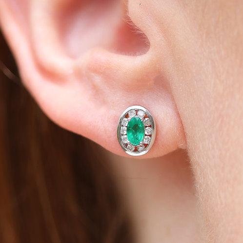 14 K White Gold Emerald and Diamond Stud Earrings