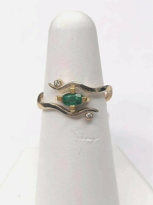 14 K Two Tone Gold Modern Emerald Ring with Diamonds, Our Own Custom Design