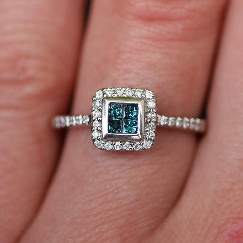 White Gold Quad Blue Diamond Engagement Ring w/ White Diamond Accents