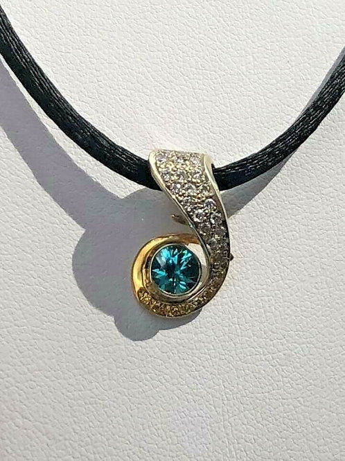 14 K White Gold Slider Pendant with Diamonds and Brilliant Blue Zircon
