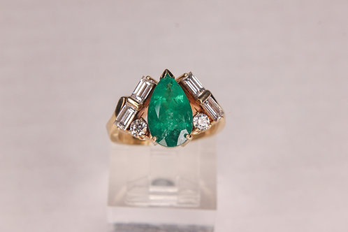GIA Certified 18k Yellow Gold 3.85CT Pear Emerald 1.35TW Baguette Diamond Ring