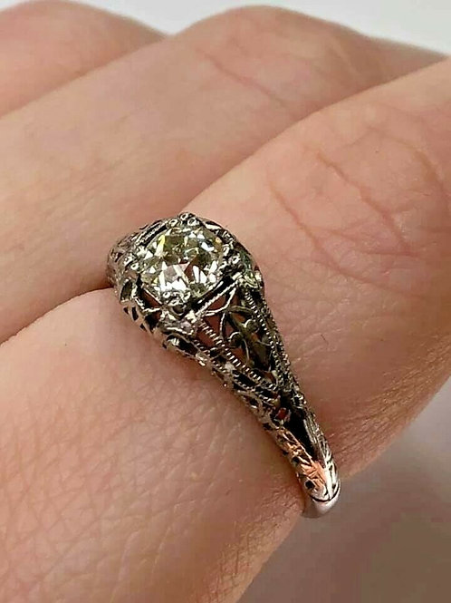 Vintage Platinum Art Deco Ring with European Cut Diamond Filigree Ring