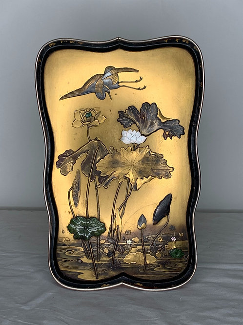 Meiji Japanese 19th Century Inlaid Lacquer Panel with Lotus & Water Lily