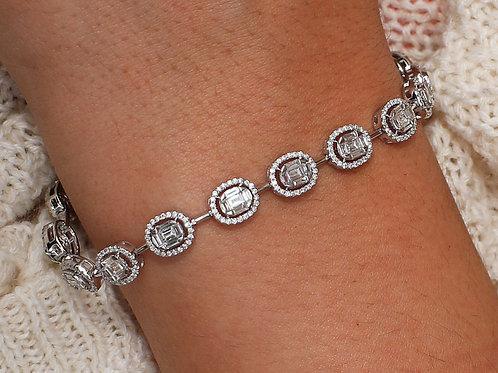 18 K White Gold Diamond Halo Bracelet