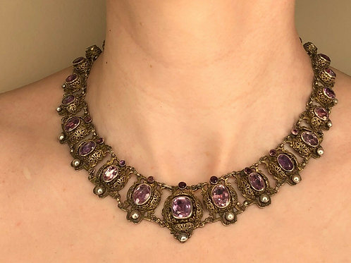1800's Vintage Silver Amethyst & Natural Pearl Necklace w/ Brass