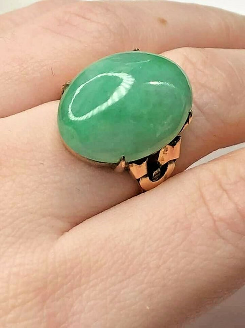 Art Deco Jade Jadeite Rose Gold Vintage Ring