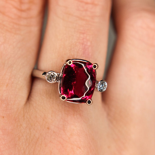 14 K White Gold Cushion Cut Red Rubellite Tourmaline Ring