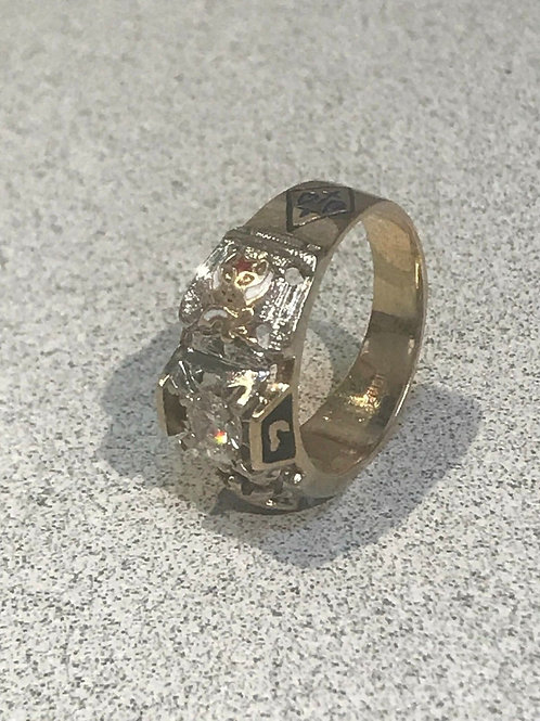 Vintage 10 Karat 32nd Degree, Scottish Rite of Freemason Ring