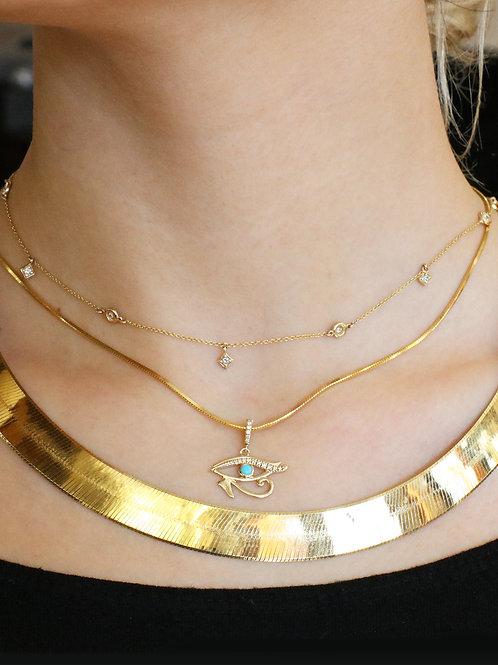 10 K Gold Wide Herringbone Necklace