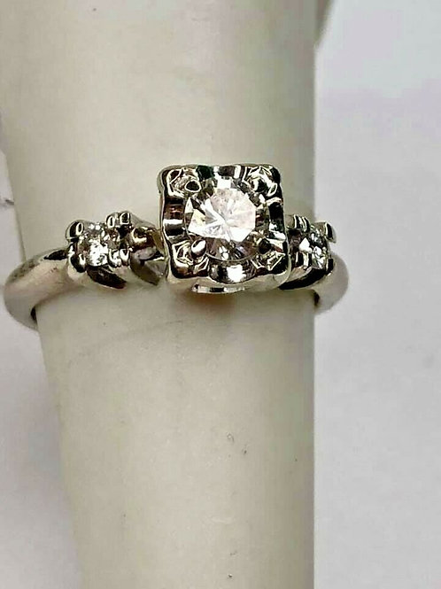 14K White Gold Vintage Engagement Ring 3 Stone Setting with Diamonds