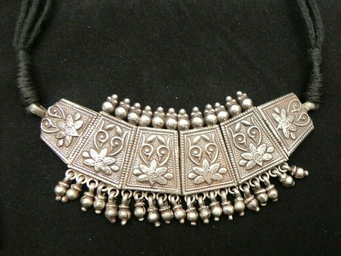 Afghan Kuchi Silver Panel Necklace