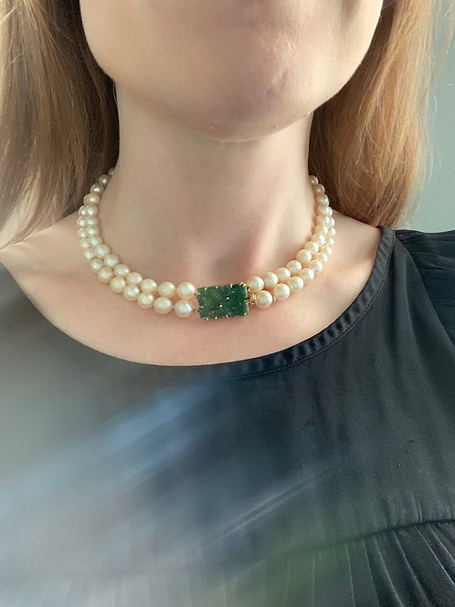 14 K Yellow Gold Pearl & Jade Necklace