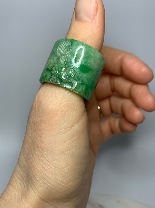 Qing Era Jadeite Archers Ring, Bird with Outstretched Wings