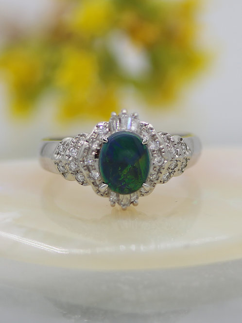 Platinum & Black Opal & Diamond Ring