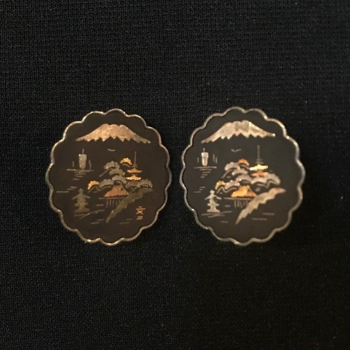 Genuine Imperial Oriental Damascene inlaid Sterling Silver & 24k Gold Cuff Links