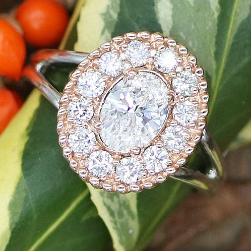 Custom Oval Diamond Ring with Rose Gold & White Gold GIA Certified