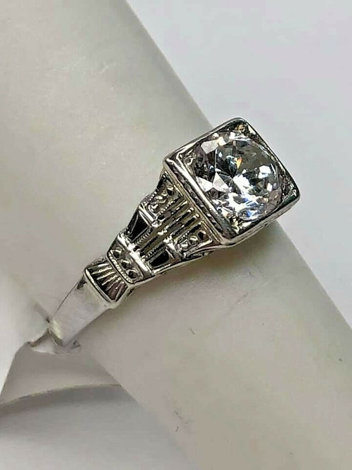 18k Vintage Filigree Mounting Art Deco with CZ placeholder Stone