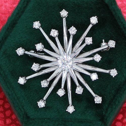 18 K White Gold and Diamond Snowflake Pendant / Pin