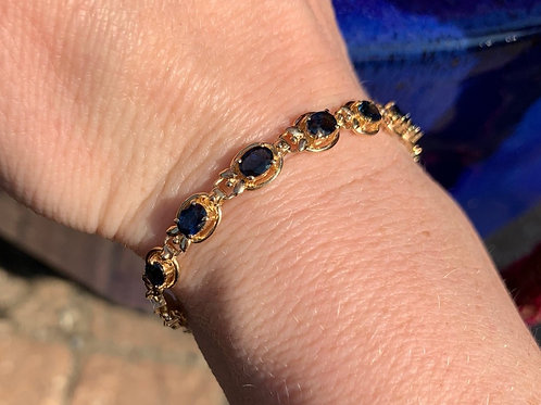 14 K Yellow Gold and Sapphire Bracelet