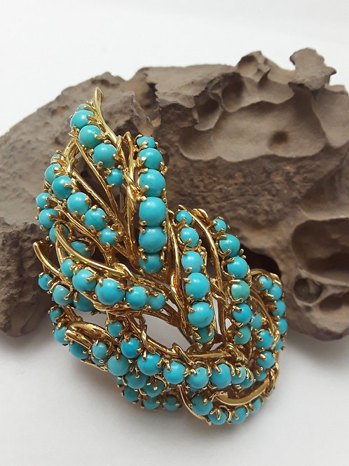 18K Yellow Gold Natural Untreated Persian Turquoise Brooch 1950's
