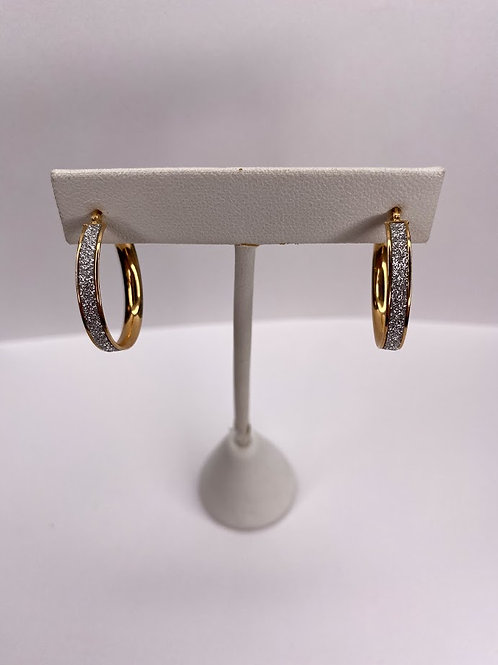 14 K White Gold Small Glimmer Infused Hoop Earrings