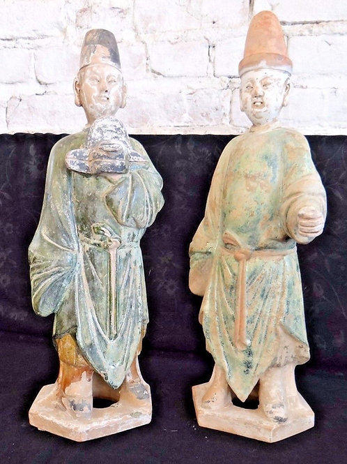Pair of Ming Dynasty Chinese Terracotta Scholar Figures Statues