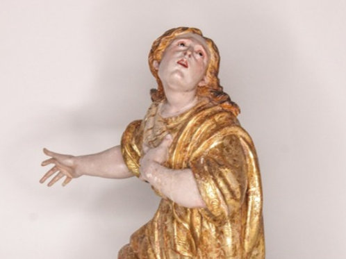Mary Magdalene Figure Sculpture Parcel-Gilt Polychrome Wood Saint 18th Century
