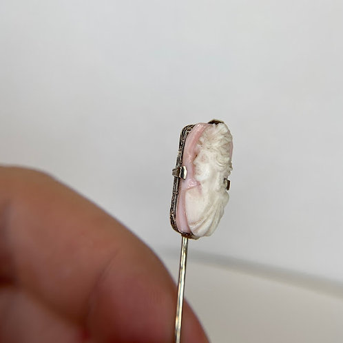 14 K White Gold Pink Cameo Hat Pin