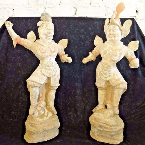 Tang Dynasty Chinese Terracotta Lokapala Figures/Statues- PAIR