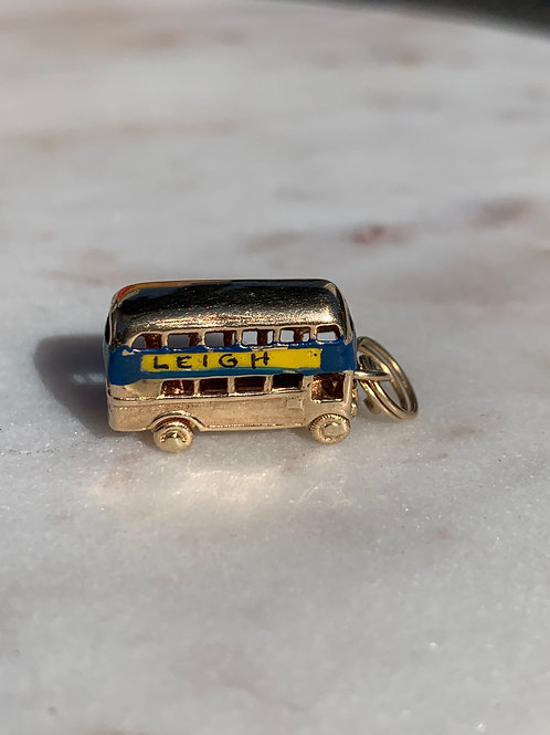 9 K Yellow Gold Vintage Leigh Bus Charm for Charm Bracelet