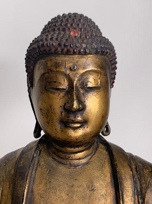 Edo Japanese 18th/19th C. Japanese Wood & Lacquer Gilded Buddha Amida Figure