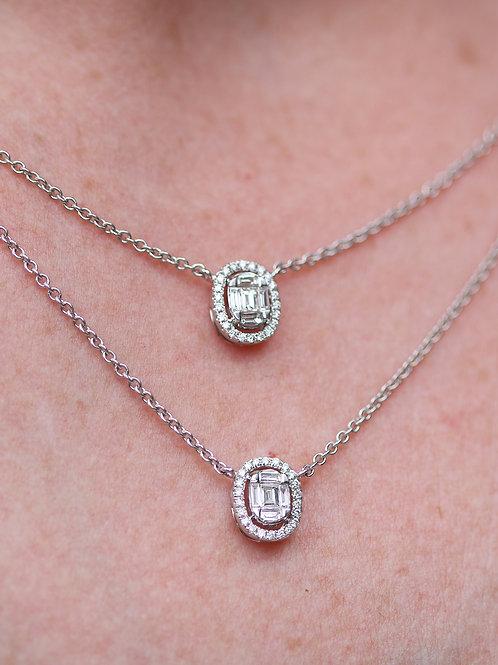 18 K White Gold Two Tier Diamond Halo Necklace