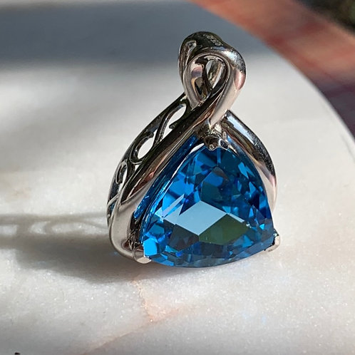 Silver Pendant with Large Blue Tourmaline Stone