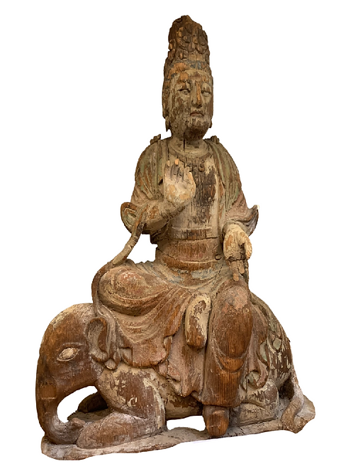 Beautiful Rare Yuan Dynasty Carved Wood & Polychromed Bodhisattva Sculpture