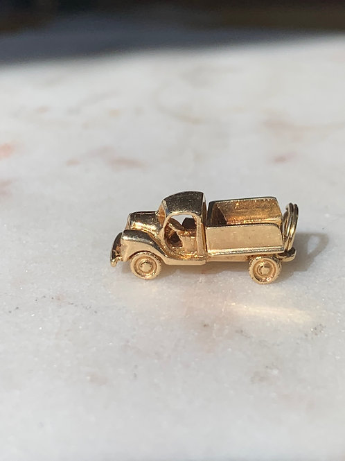 14 K Yellow Gold Vintage Truck Charm for Charm Bracelet