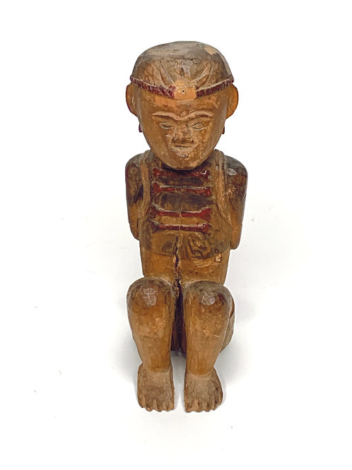 20th Century Paiwan Aboriginal Seated Wood Figure with Tomato