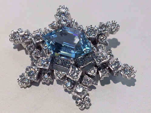Custom 4.72 ct Aquamarine 1.75 ct Diamond Snowflake Pin