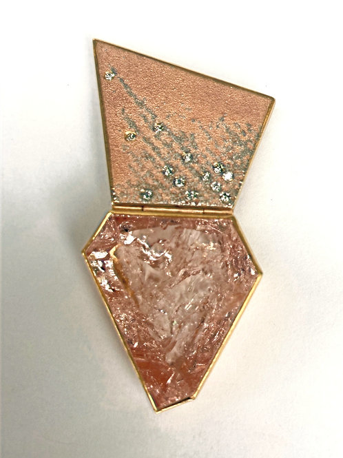 18 K Rose Gold & Platinum Zobel Morganite & Diamond Trapezoid Shaped Brooch