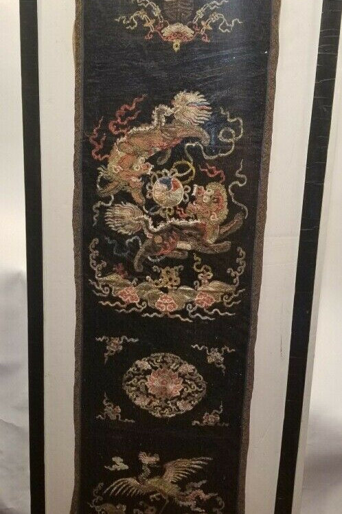 Chinese 18th or Early 19th Century Silk Formal Chair Cover w/ Detailed Stitching