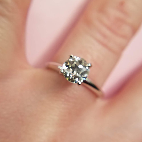 1.06 Carat European Cut Diamond Engagement Ring