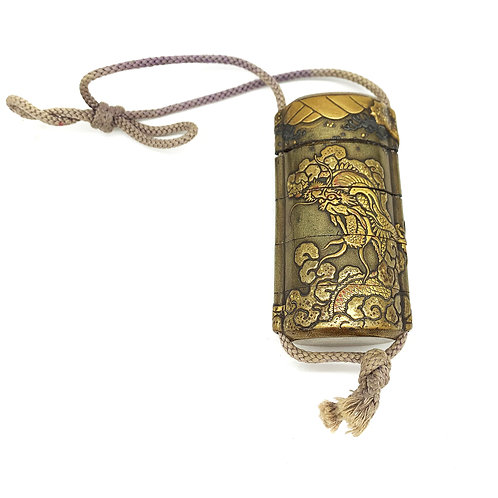 19th Century Edo Japanese Lacquer Gilded Inro with Dragon Motif