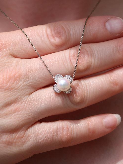 14 K White Gold Pearl & Diamond Flower Shaped Slider Pendant